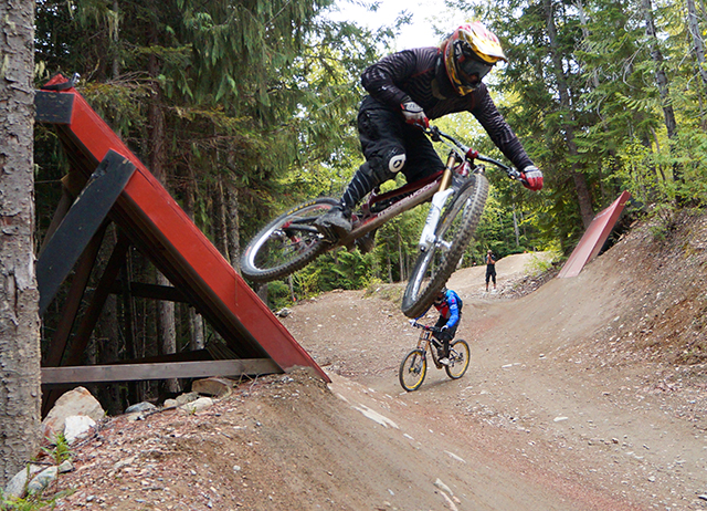 Whistler Bike Park, wall ride, Peak Leaders mountain Bike course, downhill mountain biking, fun times