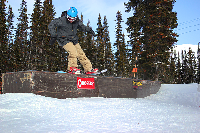 Sam Conroy, snowboarder, snowboarder on box, nose press on box, freestyle snowboarding, snowboard instructor course, Peak Leaders Banff, Sunshine Village