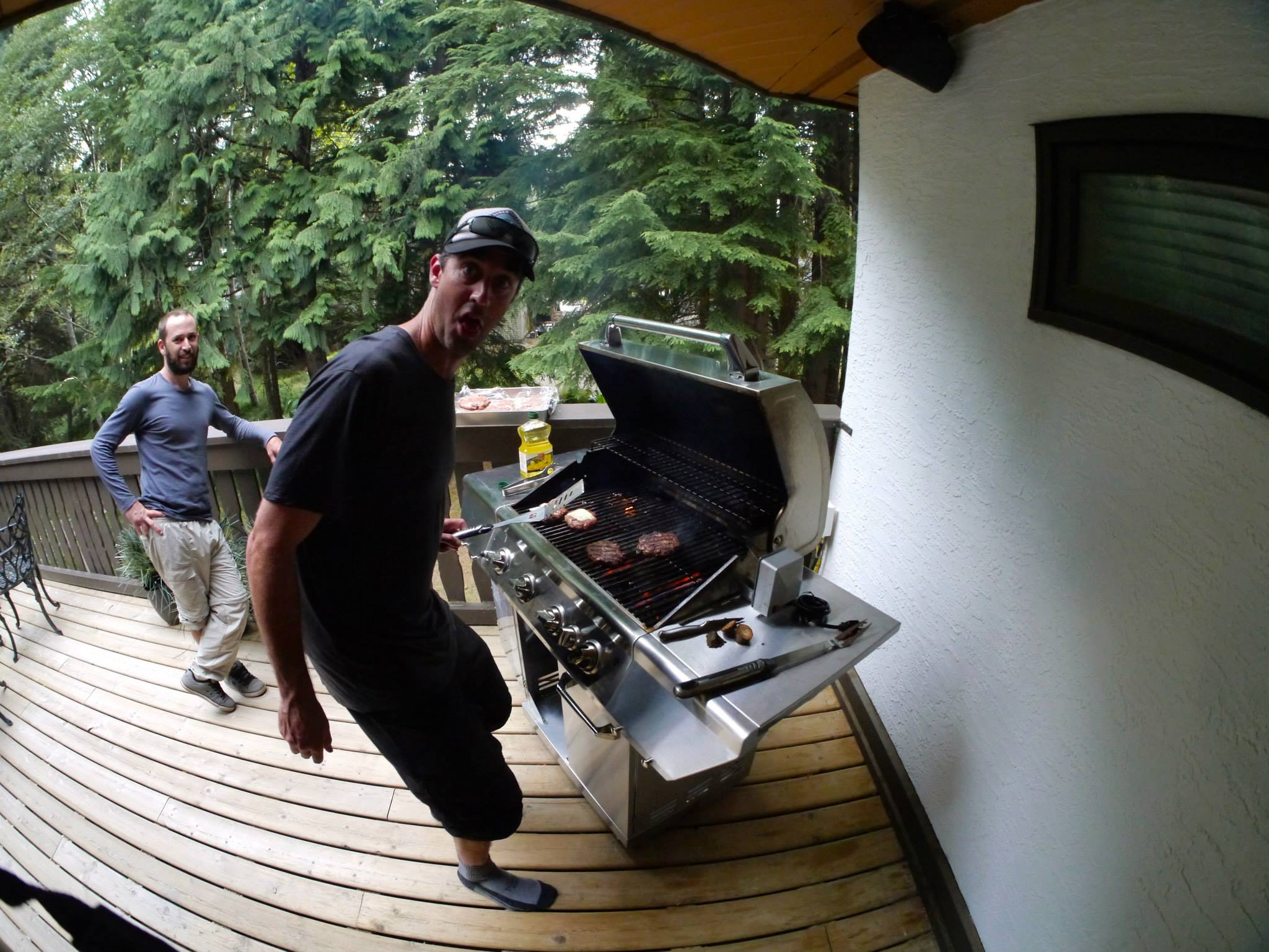 Dahj fires up some burgers for the Coaches Camp meet and greet