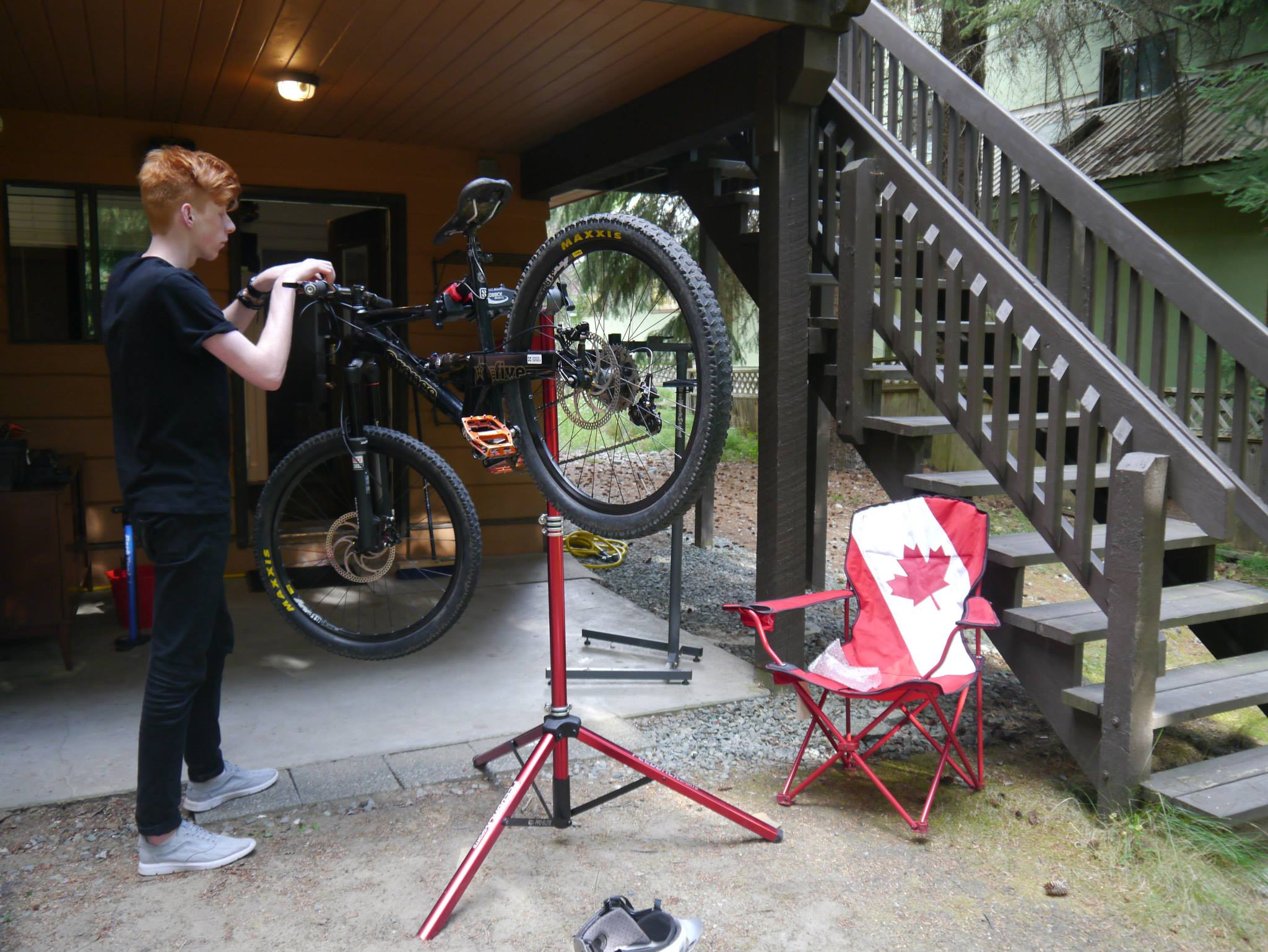 Building up the bikes at the Coaches Camp chalet
