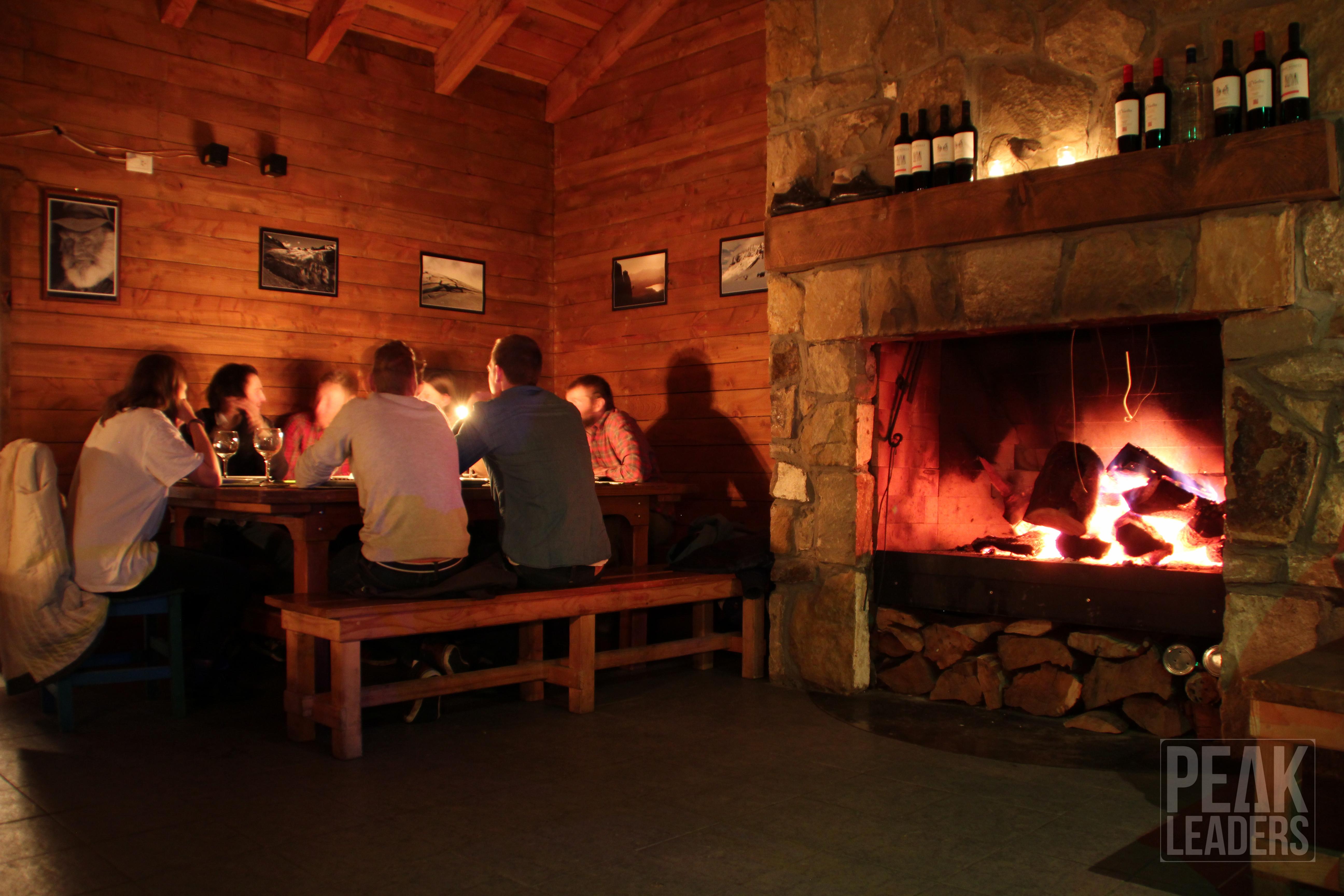 Dinner time in the chalet at Refugio Berghof
