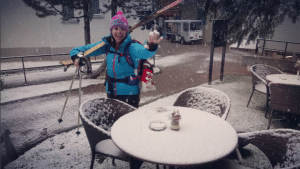 it's finally snowing in Saas Fee after the BASI Level 1