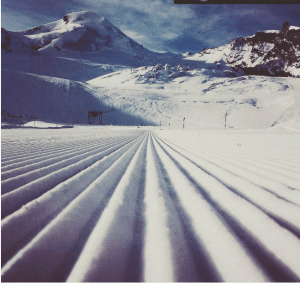 corduroy pistes in Saas Fee for our ski instructor course