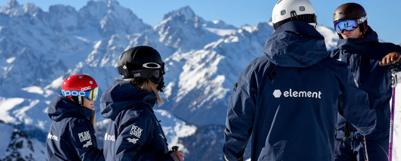 Element ski school staff training in Verbier