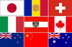 Ski instructor jobs - national flags